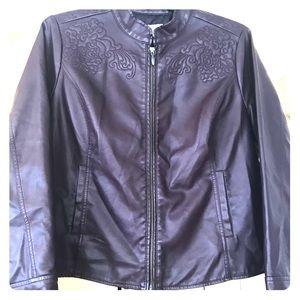 CJ Banks eggplant faux leather jacket